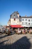 日落的,翁夫勒,诺曼底,法国,欧洲老港口 免版税库存照片