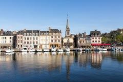 日落的,翁夫勒,诺曼底,法国,欧洲老港口 库存照片