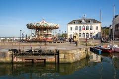 日落的,翁夫勒,诺曼底,法国,欧洲老港口 免版税图库摄影