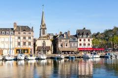日落的,翁夫勒,诺曼底,法国,欧洲老港口 免版税库存图片