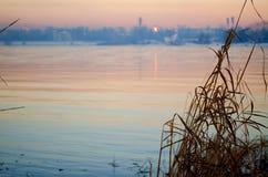 日落的,自然风景安加拉河 免版税库存照片