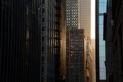日落的,街市的芝加哥摩天大楼Steet 免版税库存图片