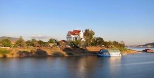 日落的,巴色,老挝, 03河 02 2017年 库存照片