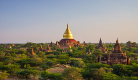 日落的, Bagan,缅甸Dhammayazika塔 库存图片