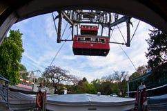日落的维也纳,从一个巨型轮子的一个看法在Prater 库存照片
