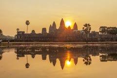 日落的吴哥窟,暹粒,柬埔寨 免版税库存图片