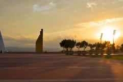 日落的巴塞罗那体育场 免版税库存照片