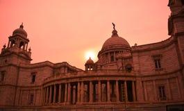 日落的维多利亚纪念博物馆 库存照片