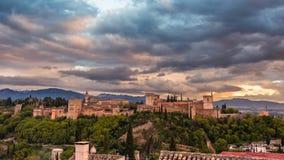 日落的1美丽的阿尔罕布拉 免版税库存照片