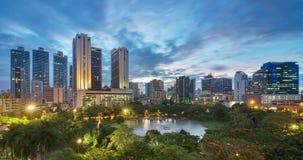 日落的Benjasiri公园,曼谷,泰国 库存图片