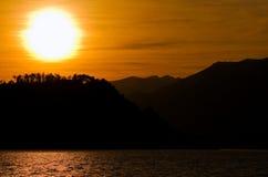 日落的Como湖 库存照片