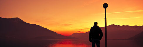 日落的Como湖 图库摄影