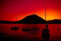 日落的Como湖 库存图片