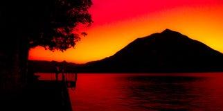 日落的Como湖 免版税图库摄影