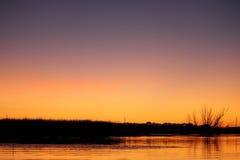 日落的Fall湖 库存照片