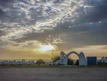 日落的Pinamar市 库存照片