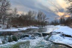 日落的Podkumok河 33c 1月横向俄国温度ural冬天 免版税库存图片