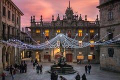 日落的Praterias广场 免版税库存图片