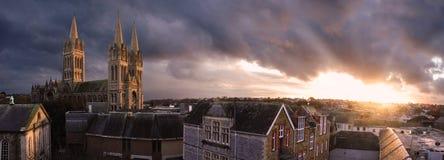 日落的Truro大教堂 库存图片