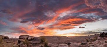 日落石沙漠, Talsint,摩洛哥 免版税库存照片