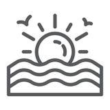 日落线象,日出和海洋,太阳标志,向量图形,在白色背景的一个线性样式 向量例证