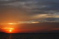 日落美丽的景色  免版税库存照片