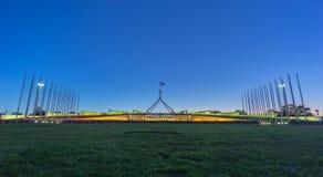 日落美好的场面在议会议院堪培拉, Australi的 免版税库存照片