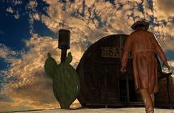 日落背景的在交谊厅前面- 3D牛仔翻译 免版税库存图片