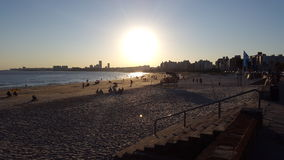 日落蒙得维的亚,乌拉圭(马尔文) 库存图片