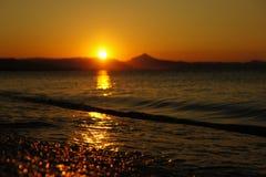 日落西班牙海滩夏天 免版税库存图片