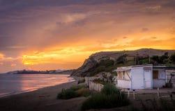 日落西西里岛意大利黄色 免版税图库摄影