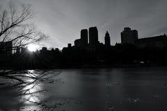 日落西部的中央公园 免版税库存照片