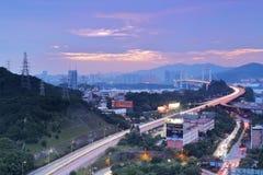 日落覆盖的haicang桥梁覆盖, amoy城市,瓷 免版税库存照片