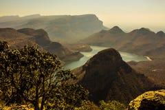 日落视图三Rondavels,布莱德峡谷,南非 免版税库存照片