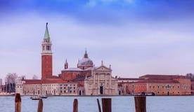 日落视图到圣乔治Maggiore海岛 免版税图库摄影