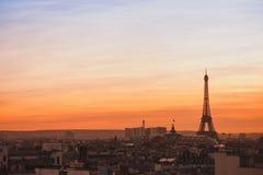 巴黎日落视图  库存图片
