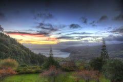 日落软的HDR在亚速尔群岛,葡萄牙的 库存照片