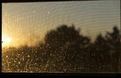 日落通过一个肮脏的窗口 免版税库存图片