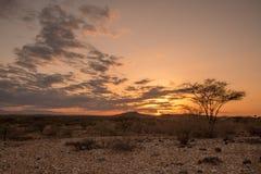 日落通过在沙子一个干旱的沙漠风景的云彩  库存照片