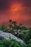 日落通过在秃头的珍妮的雾 免版税库存图片