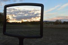 日落镜子  库存照片