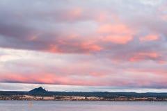 日落陶波湖新西兰 免版税图库摄影