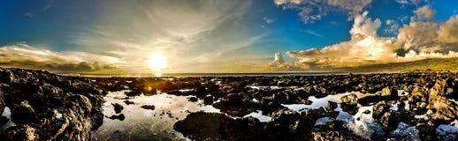 日落雷乌尼翁冰岛 免版税库存图片