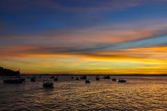 日落颜色在Morro de圣保罗,萨尔瓦多,巴西 库存图片