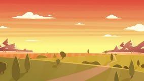 日落风景动画片传染媒介例证 免版税库存照片