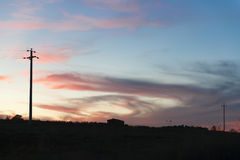 日落风景托斯卡纳 免版税库存照片