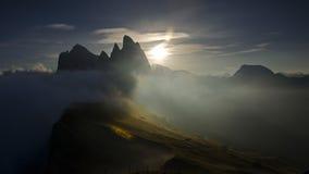 日落风景Seceda Val加迪纳,白云岩,意大利 免版税库存照片