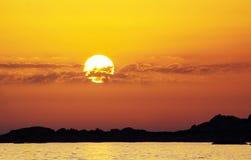 日落,可西嘉岛 免版税库存照片