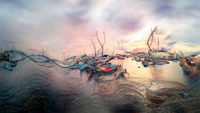日落,在小游艇船坞的黄昏-例证 免版税库存照片