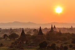 日落,在缅甸(Burmar)的Bagan 库存照片